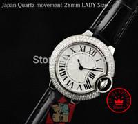 diamantes de aço novo relógio de mulher preto venda por atacado-New Ladies Japão Quartz Movement Assista Aço Inoxidável Diamond Bezel Pulseira De Couro Preto Relógios De Pulso De Moda Feminina