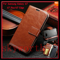 Wholesale Brown Stand - for iPhone 7 8 X 6S Plus Samsung Galaxy Note 8 S8 Plus S7 edge Wallet Leather Flip Case Cover Stand Card Slot