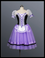 Wholesale Ballet Dance Competition - Free Shipping Purple Color Long Giselle Dress For Ballet Performance And Competition Romantic Tutu Dance Stage Wear AT1073C