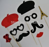 Wholesale Photo Booth Props Mustaches - Wholesale-funny Parisian Inspired Wedding Photo booth props berets glasses eiffel tower Birthday france parisian party mustaches masks