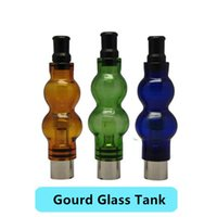 Wholesale Gourd Glass Ego Tanks - Gourd Glass Globe Atomizer Dry Herb Vaporizer Wax Vapor Tank with Ceramic Coil Head for eGo EVOD Herbs E Cigarettes Gourd Glass Clearomizer
