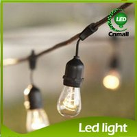 Wholesale Vintage Outdoor Lighting - New 15pcs Bulb String Vintage Style Outdoor String Commercial Patio String Light Incandescent 11S14 Bulbs 48-Feet 15 Lights E27 Base Light