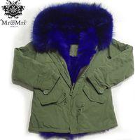 Wholesale Mini Hats Line - MR & MRS lined with rabbit fur mini canvas parka winter women furs jackets hood with real raccoon fur