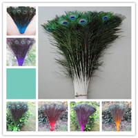 plumas de pavo real libres al por mayor-Envío gratis 100 UNIDS Alta calidad 70-80cm / 28-32inches plumas de pavo real U selección de color