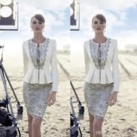 Wholesale Strapless Wedding Dreses - Carla Ruiz 2016 New Mother Of Bride Pant Suits Long Jacket Vintage Lace Knee Length Satin Bride Groom Wedding Guest Dreses BO9311