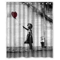 Wholesale Girls Balloon Top - Super Sexy Balloon Girl Banksy Shower Curtain Bathroom Waterproof 60x72 online top quality