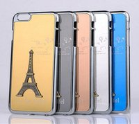 Wholesale S Chrome Case - Luxury 3D Eiffel Tower Design Metal Hard shiny Chrome Plated Cell Phone Case Cover for iphone5S iphone6 6S 6 plus samsung galaxy S