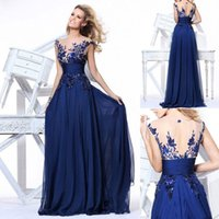 Tarik Ediz Neu Kaufen -2015 New Tarik Ediz Abendkleider Im Lager Cocktail-Heimkehr-Abschlussball-Partei Kleider Chiffon Royal Blue As Pictures Sheer Lace Back Günstige