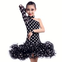 Wholesale Latin Dance Dress Wholesale - 4pcs lot Children Girls One-sleeve Slims Dancing Dresses Polka Dot Style Mesh Dresses Performance Practice Wear tls305