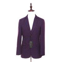 patrón de chaqueta de lana para hombre al por mayor-Nuevo Mens Blazers Casual Chaqueta Purple Plaid Pattern Lana Slim England Traje Blaser Masculino Chaqueta Hombre Blazer Hombres Tamaño XS-4XL