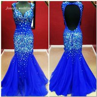 Wholesale Purple Colour Photo - Free shipping New Arrivals real sample picture royal blue colour mermaid Crystals Beaded Backless Formal Long Prom Dress Woman Gown WH463
