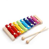 tocar el piano de madera al por mayor-New Infant Childen Puzzle Inteligencia Juguetes Bebé Música Juguetes Mano de madera que golpea Octave Knock Piano para la venta