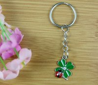 Wholesale Red Eat - 50PCS Vintage Green& Red Enamel Charms Ladybugs Eat Leaves Key Chain For Keys Car Key Ring Souvenir Couple Handbag Jewelry P1623