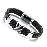 Wholesale Stainless Stell Charms - Wholesale-X mark charm Leather for Men Bracelet Stainless Stell Men Bracelet Magnetic Buckle Men Bracelet Jewelry