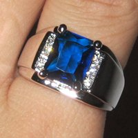 Wholesale Solitaire Emerald Rings - Men's 925 Silver Filled Emerald-cut Blue Sapphire with CZ Side Stone Ring