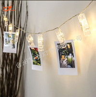 Venda por atacado - HOT SALE 10/20 LEDS Clip LED String Lights Fio de plástico 220CM PVC BOX Curtain Bedroom Photo Wall Wedding Luces Decoração Fairy