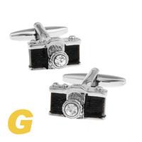 Wholesale Rare Cameras - High Quality New Classic Silver Copper Mens Wedding Cufflinks Novelty Rare Fancy Camera & Clean Cloth 170294