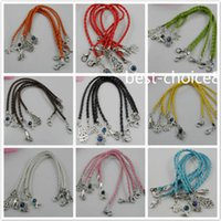 Wholesale Red Lucky Hand String - Free Shipping 100pcs Mixed HAMSA HAND Evil Eye String Bracelets Lucky Charms Leather HOT