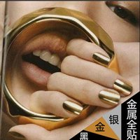 Wholesale Gold Nails Sticker - Wholesale-16pcs set 2015 European and American fashion metallic nail polish Nail art decorations stickers gold and silver black metal