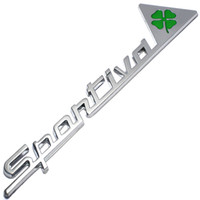 Metal Sportiva Quatrefoil Green Delta Car Side Fender Emblem Badge Sticker para Alfa Romeo 4C 8C 156 166 159 Giulietta Spider GT