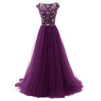 Foto reali Purple Long Prom Dresses Jewel Cap Sleeve Una linea Tulle Piano Lunghezza Abiti da sera formale delle donne Occasioni speciali Party Dress