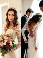 Wholesale chic sheath wedding dresses for sale - Elegant Boho Beach Wedding Dresses Long Sleeve V Neck Sexy Backless Chic Rustic Garden Bridal Gown Custom Made Cheap Hot Sale