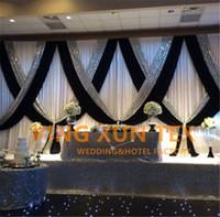 weiße vorhänge hochzeit dekoration groihandel-Weißer und schwarzer 3M * 6M Hochzeits-Hintergrund-Vorhang-Stadiums-Hintergrund mit silbernem Pailletten-Gewebe für Ereignis-Dekoration