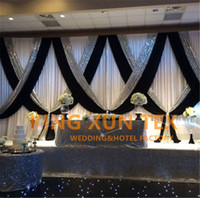 Wholesale Background Backdrop 3m - White And Black 3M*6M Wedding Backdrop Curtain \ Stage Background With Silver Sequin Fabric For Event Decoration