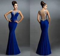 Wholesale Tank Tops Ruffles - Latest Royal Blue 2015 Evening Dresses Tank Top Crystal Beaded Prom Dress Floor Length Mermaid Sheer Back Evening Gown vestidos HY