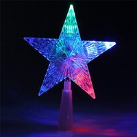 All'ingrosso- Nuovo albero di Natale Topper Star Lampada multi colore Fata Decorazione Xmas Party Home LED Lights Indoor Outdoor Decor Supplies