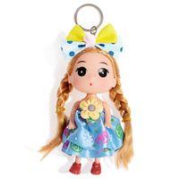 Wholesale Characters Bags 12pcs - 12PCS LOT New Wedding Bag Ornaments Cartoon Girl Key Ring Keychain Baby Characters Doll Gifts Style Random