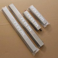 Wholesale Led Illuminated Door Sills - 4 PCS DIY CHROME STAINLESS STEEL LED LIGHT Illuminated DOOR SILL threshold of Article Scuff PLATE For DODGE RAM