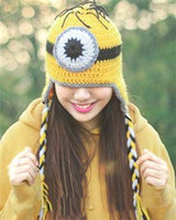 Wholesale Despicable Knitted Hat Infants - The new Despicable Me Minion Children Crochet Hats Boys Girls Cute Yellow 3D Robot Knitted Caps Infant Beanie