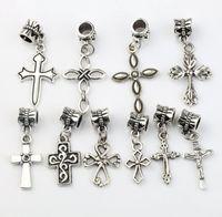 Wholesale Big Cross Bracelets - Cross Charm Dangle Big Hole Beads 100pcs lot Tibetan Silver Fit European Bracelet B465-B512 Jewelry DIY hot sell