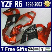 Wholesale R6 Fairing Kit Matte - 7 Free gifts + bodywork for YAMAHA YZF600 98-02 matte black red fairing kit YZFR6 YZF-R6 1998 1999 2000 2001 2002 fairings set YZF600 VB91
