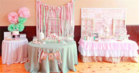 Wholesale Princess Chair Covers - Skirt Table Polyester Table Skirt Wedding Pink Tulle Table Skirt for Princess Party Birthday Bridal Shower Wedding Sweet Style Tablecloth