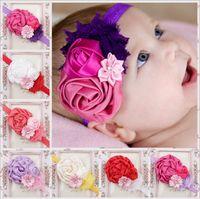 Wholesale Shabby Hair Flowers - Newborn Baby Headbands Flower Girls Shabby Satin Elastic Headbands Kids Hairbands Children Hair Accessories Princess Headdress KHA105