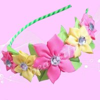 Wholesale Modern Hair Accessories - 20pcs Fashion Hairbands Blessing Good Girl Modern Style Headband Accessories Hyacinth Floral Hair Bow Children Headwear