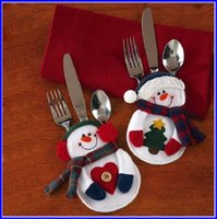 Wholesale Happy Knife - 96pcs Handmade Happy Santa Snowman Cutlery Pocket Knife And Fork Bag For Christmas