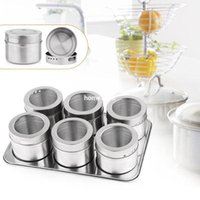 Wholesale Metal Canister Sets - 6pcs Magnetic Cruet Condiment Spices Set Stainless Steel Condimento Canister Bottle Seasoning Tools
