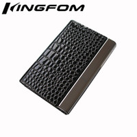 Wholesale Business Cards Case Display - Wholesale-Fashion Magnetic Lock Leather Business Card Case ID Card Holder Display Organizer Wallet Black Crocodile Pattern 1162