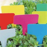 Wholesale Garden Labels - 100pcs Hot Sale 6 x10cm Plastic Plant T-type Tags Markers Nursery Garden Labels Signs Plant Hanging Tags Gray jt013
