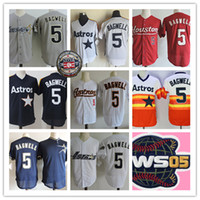 parches navy al por mayor-Hombre Jeff Bagwell 2017 Hoof patch Jerseys blanco naranja azul marino # 5 Jeff Bagwell 2005 WS béisbol Jersey S-3XL