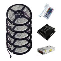 25M SMD 5050 conector impermeável IP65 RGB LED Strip Light + 1PC IR 44Keys RGB Controlador + 1PC 12V 25A 300W + DC