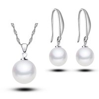 Wholesale Jewely Earrings - 2015 new Jewely Sets Silver plated with Pearl Pendant Necklace Earring Set Women Party Gift