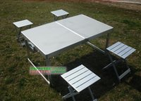 Wholesale Aluminum alloy with thick folding tables and chairs outdoor is lifting split type table on board eat desk and chair
