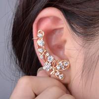 Wholesale Ear Cuff Right - 12pcs Hot Fashion New Retro Crystal Butterfly Flower Ear Cuff Earring Wrap Clip On For Right Ear Women Earrings Free Ship