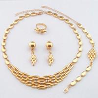 24k altın gelin setleri toptan satış-Dubai 24 K Altın Kaplama Lüks Kolye Takı Setleri Düğün Gelin Kolye Küpe Bilezik Yüzük 742