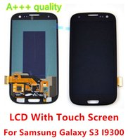 Wholesale Galaxy S3 Assembly - DHL Free LCD Display With Touch Screen Digitizer Assembly For Samsung Galaxy S3 I9300 white blue black color