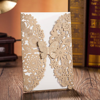 Wholesale Wedding Invitations Laser Cut Customised Invitation Cards Wedding Card Free Fold Gift Cards Cheap Print Invitation Card New Arrival